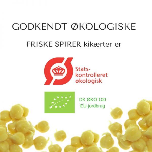Oekologiske kikaerter certificerede spirefroe fra FRISKE SPIRER