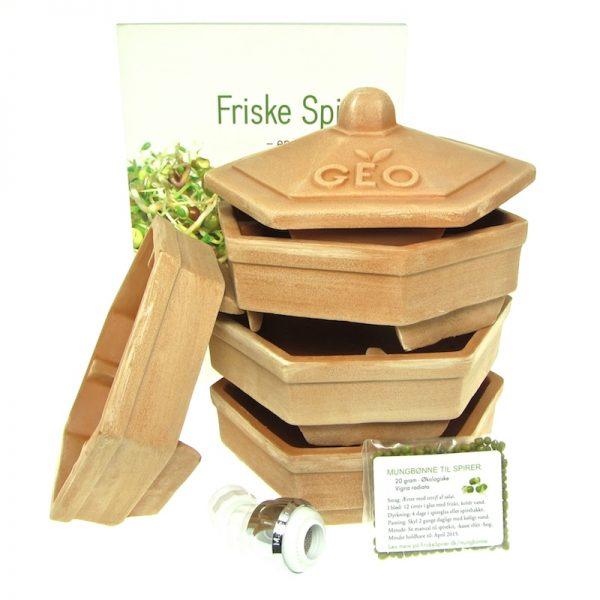 Terrakottataarn stor pakke med spirebog + skyller + spirefroe FRISKE SPIRER