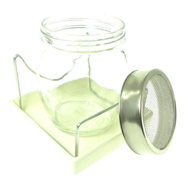 Spireglas med hvid keramikbund og metaldele FRISKE SPIRER