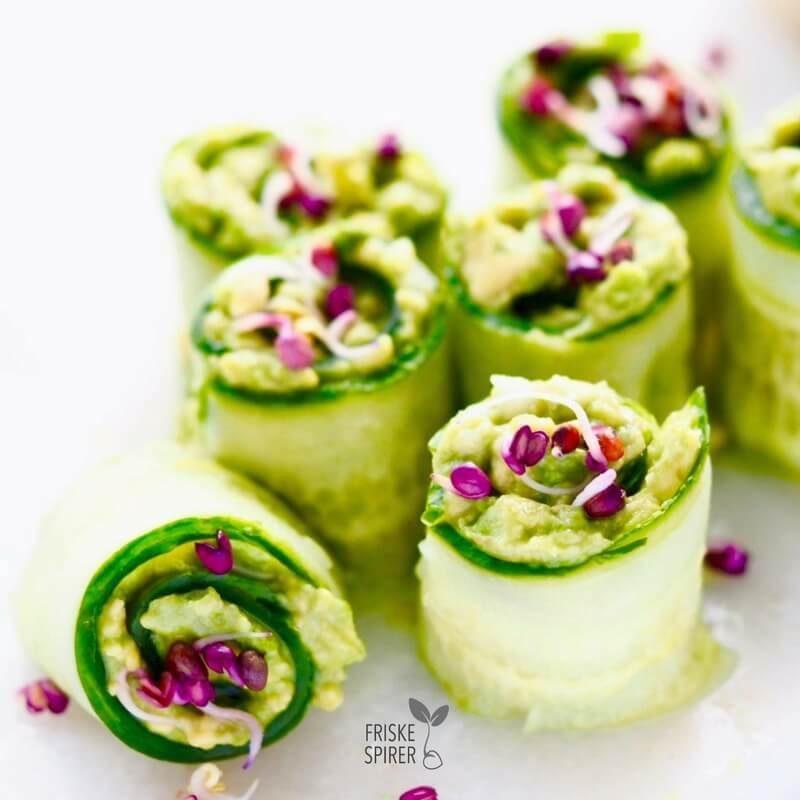Agurkeruller med radisespirer og guacamole FRISKE SPIRER