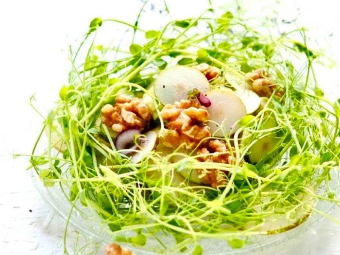 Aerteskud salat med paere, valnødder, sennepsspirerog avocado FRISKE SPIRER